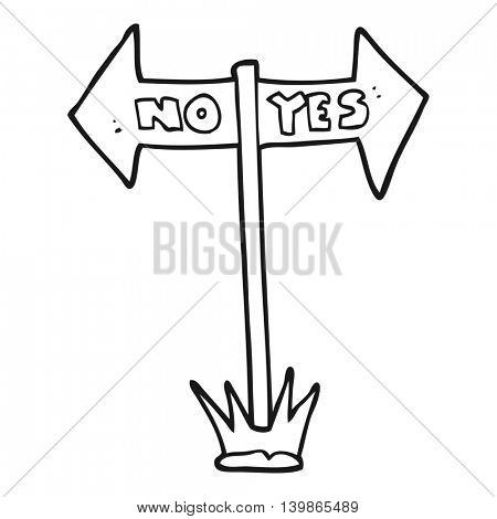 freehand drawn black and white cartoon yes and no sign