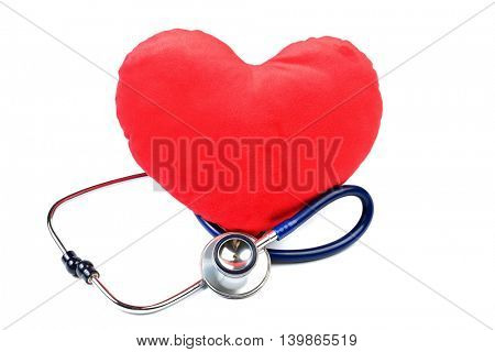 Heart with a Stethoscope isolated on white