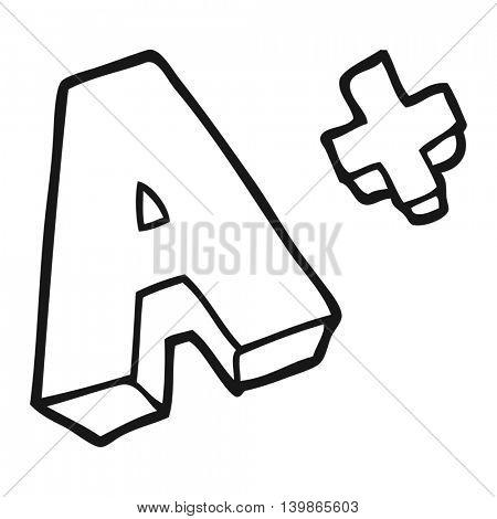 freehand drawn black and white cartoon A grade symbol