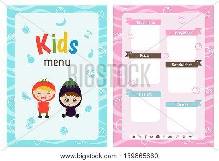 Kids menu card with little cartoon children. Cute colorful kids meal restaurant menu vector template.