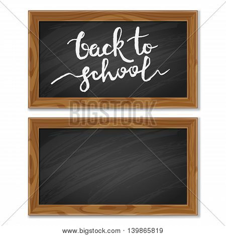 Vector School Black Chalkboard Isolated On White Background.