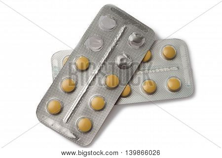 Close up of pill package on white background