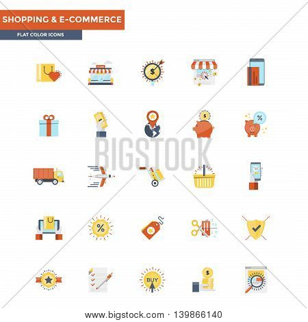 Modern flat design icons for Shopping and Ecommerce. Icons for web and app design easy to use and highly customizable. Vector
