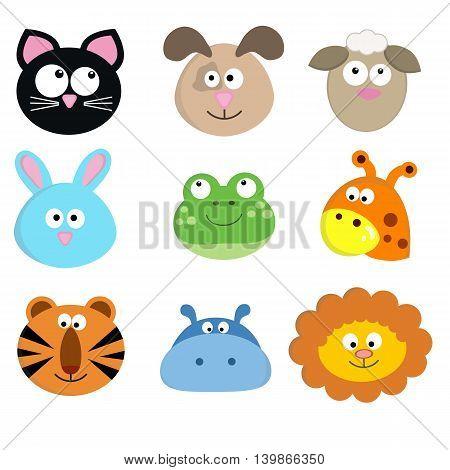 Vector illustration of cute cartoon animal faces