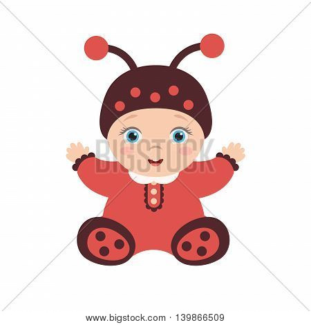 illustration of a cute happy baby dressed as a ladybug. The child sits and enjoys.