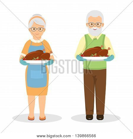 Grandmother and grandfather with roasted turkey. Cartoon style.Vector illustration