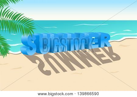 3d blue text summer with shadow on the background of the beach. Vector illustration