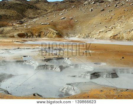 Sulfur field with hot water and mud in Iceland.