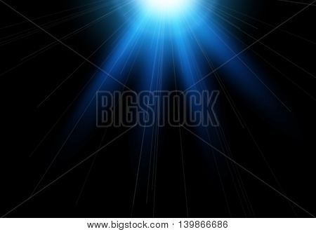 Sun flash with rays and spotlight. Light effect, sun rays, beams on black background.