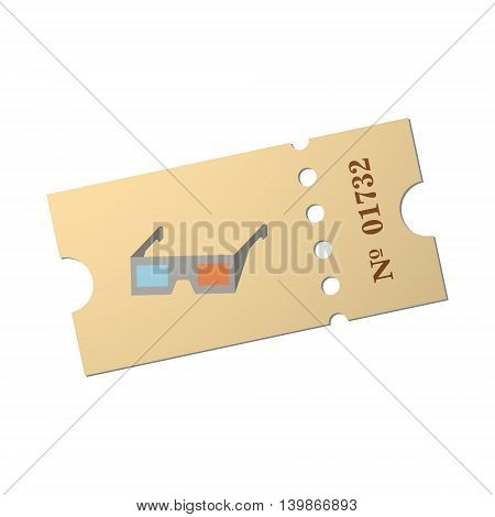 Ticket of flat style, cartoon style, vector illustration. Ticket stub isolated on a background. Retro cinema card. vector