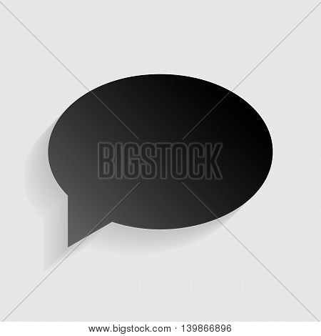 Speech bubble icon. Black paper with shadow on gray background.