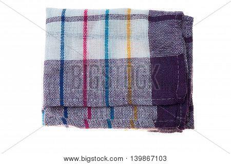 Checkered Linen Napkin Isolated On White