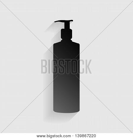 Gel, Foam Or Liquid Soap. Dispenser Pump Plastic Bottle silhouette. Black paper with shadow on gray background.