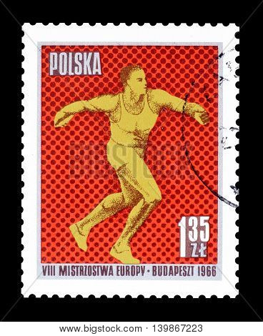 POLAND - CIRCA 1966 : Cancelled postage stamp printed by Poland, that shows Discus throw.