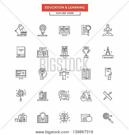 Set of Modern Flat Line icon Concept of Education Leaning Online Education Video Tutorial E-Learning and Thinking use in Web Project. Simple mono linear pictogram pack. Vector Illustration