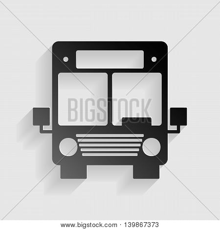 Bus sign illustration. Black paper with shadow on gray background.