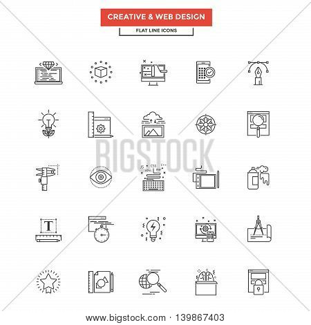 Set of Modern Flat Line icon Concept of Creativity Design Web Design Development and Art use in Web Project and Applications. Simple mono linear pictogram pack. Vector Illustration