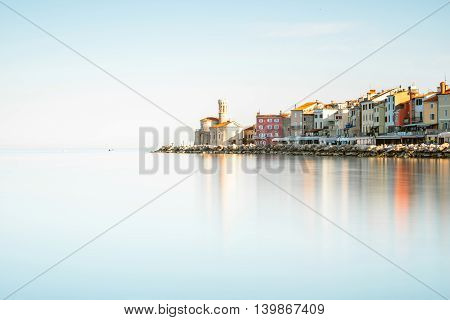 Coastline view on Piran town on the Adriatic sea in southwestern Slovenia