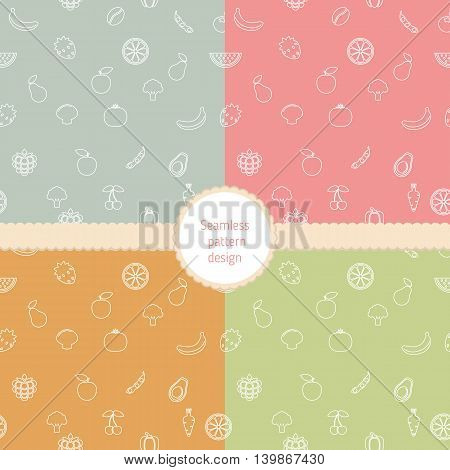 Set of seamless pattern with fruits and vegetables.
