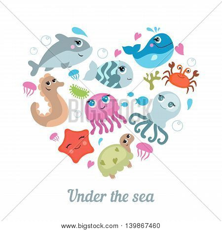 Cute sea life creatures. Symbols in the shape of heart. Isolated vector illustration.