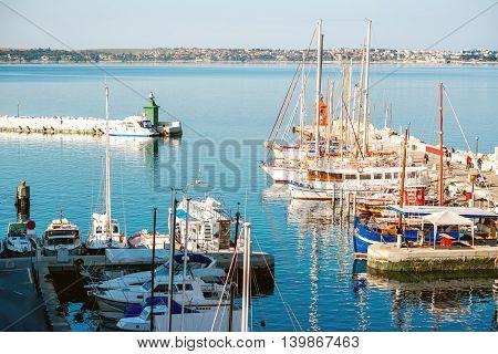 Marina in Piran town on the Adriatic sea in Slovenia