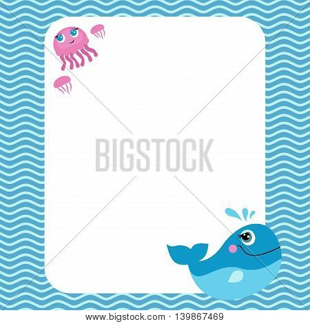 Funny card with empty space for text and cute sea creatures: blue whale and jellyfish.