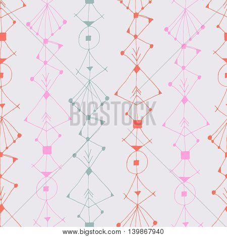 Boho seamless pattern with ink ornaments. Geometric texture. Abstract background. Creative card, poster, paper