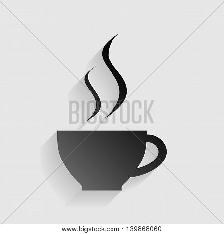 Cup of coffee sign. Black paper with shadow on gray background.