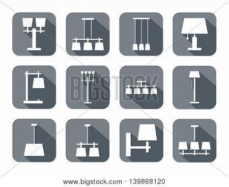 Lamps ceiling, table, outdoor, single-color icons, grey. Vector image of different types of lamps for home and office. White icons on gray background with shadow.