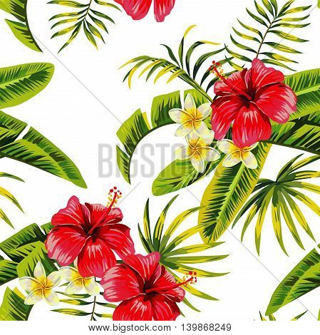 Tropic summer flower hibiscus and orchid Seamless vector pattern with palm banana leaf and plants. Composition with flower jungle white background. Hand drawn fashion bunch exotic flower wallpaper.