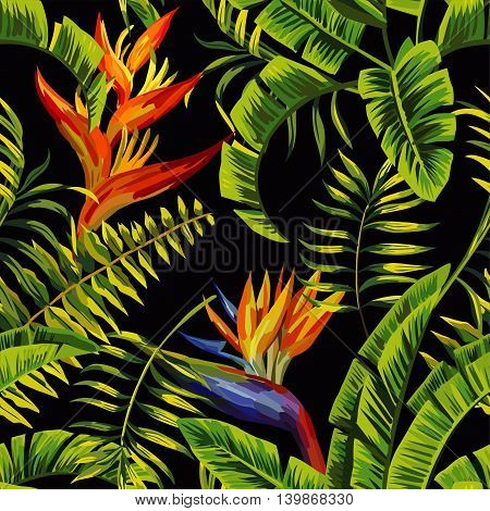 Tropic summer painting seamless vector pattern with palm banana leaf and plants. Floral background jungle bird of paradise. Trendy bunch exotic flower wallpaper.