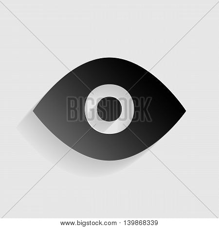 Eye sign illustration. Black paper with shadow on gray background.