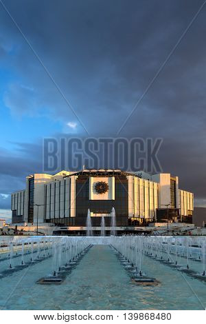 SOFIA, BULGARIA - JULY 3, 2016: Amazing Sunset over National Palace of Culture in Sofia, Bulgaria