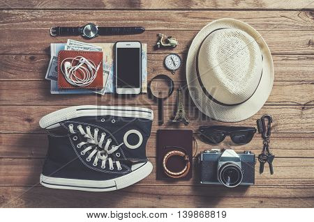 Overhead view of Traveler's accessories Essential items of traveler Travel concept background