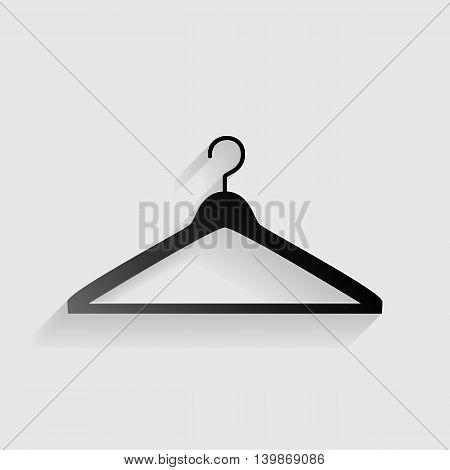Hanger sign illustration. Black paper with shadow on gray background.
