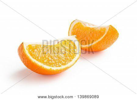 Orange. Ripe fresh orange slice isolated on white background