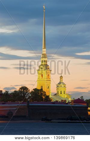 View on the bell tower of Peter and Paul Cathedral during the white nights. Saint Petersburg, Russia