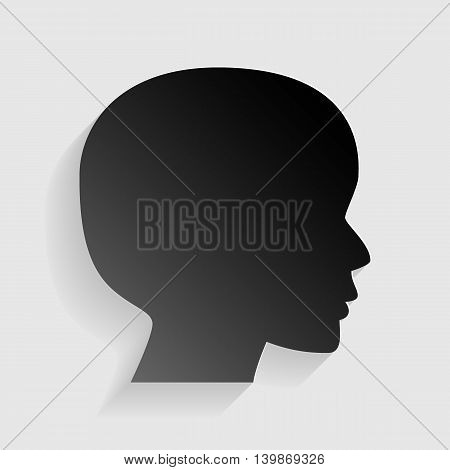 People head sign. Black paper with shadow on gray background.