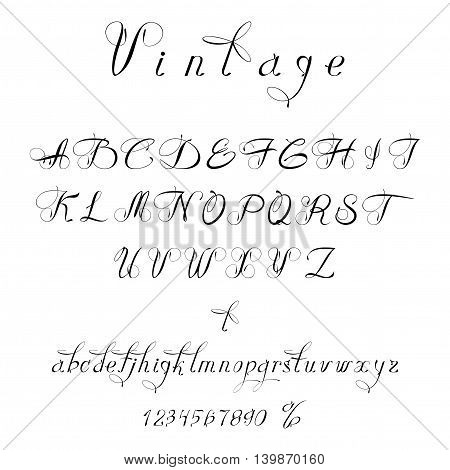 Script font in vintage style. The font can be used to design wedding invitations and significant events. It looks great on labels for cards.