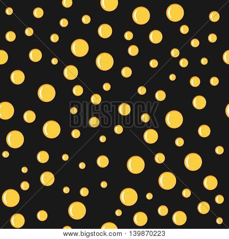 Bubbles yellow on black seamless pattern. Fashion graphic background design. Modern stylish abstract colorful texture. Template for prints textiles wrapping wallpaper website. VECTOR illustration