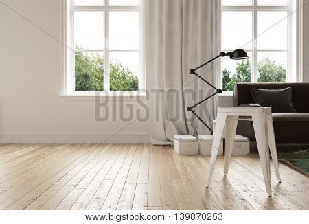 Modern minimalist living room with hardwood floor and a stylish flexible angle poise standing lamp alongside a sofa in front of two bright windows, 3d rendering