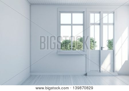 Empty monochromatic white room with hardwood floor and entrance door leading onto a garden, light bright with sunlight. 3d Rendering.