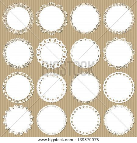 Cute lacy doilies big set on cardboard background.