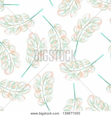 Seamless floral pattern with the abstract watercolor pink and mint branches, hand drawn on a white background
