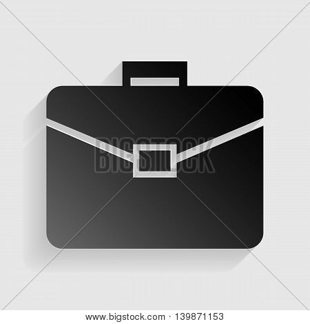 Briefcase sign illustration. Black paper with shadow on gray background.