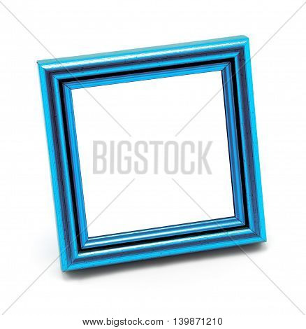 Square Classic Empty Blue Photo Frame Isolated On White