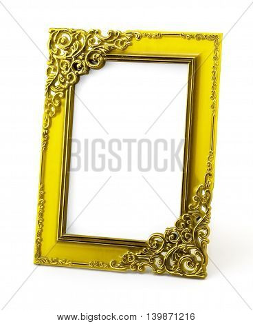 Vintage Yellow Photo Frame Isolated On White