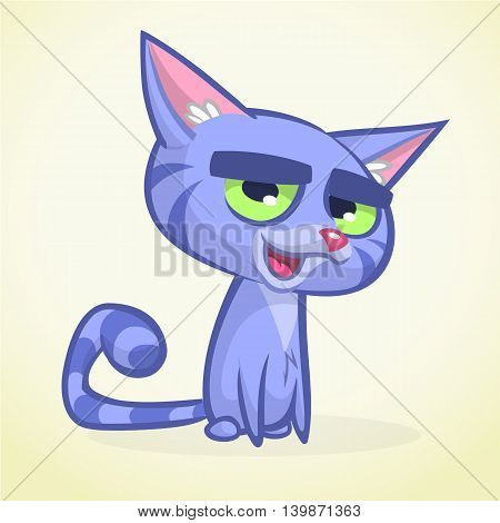Cartoon vector illustration of blue kitty. Cat with fluffy striped tail vector icon isolated