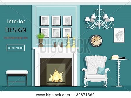 Cute vintage living room interior with furniture: cozy armchair, fireplace, chandelier, table. Flat style vector illustration