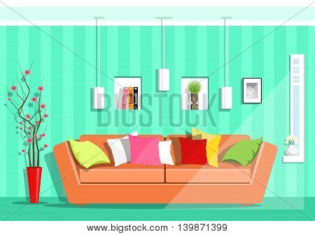 Modern colorful graphic living room with window. Flat style sofa, pillows, lamps, shelves, vase with sakura flowers. Vector illustration